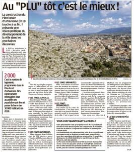 La Provence 12 01 2017 - PLU Cavaillon